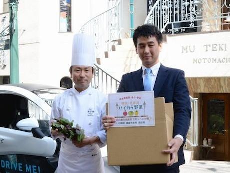「霧笛楼」料理長の高田裕康さんとキーストーンテクノロジー技術営業・栽培インストラクターの大野智仁さん