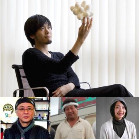上右から太刀川英輔さん、杉浦裕樹さん、加藤之弘さん、新田理恵さん