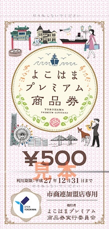 横浜の魅力を集めたイラストがデザインされた商品券