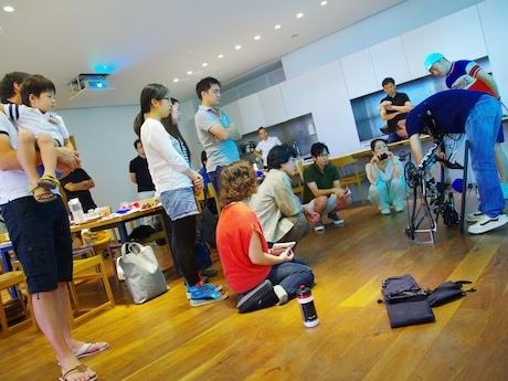 「くるくるサイクル」で開催した輪行講習の様子