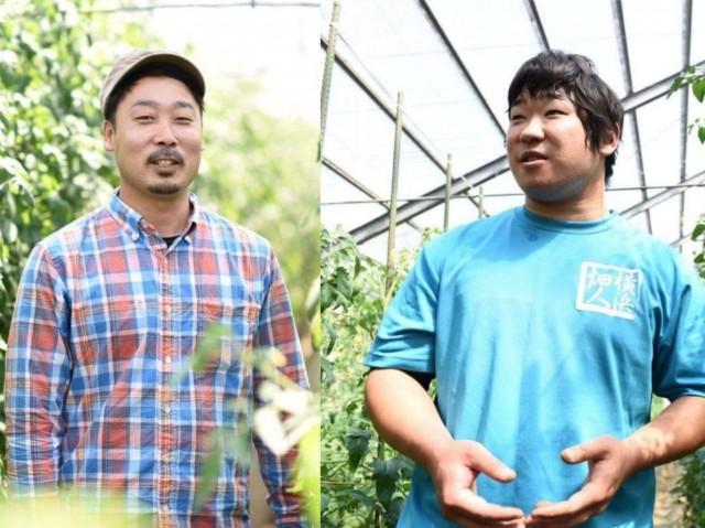 泉区でトマト「サンロード」づくりに懸命な横山宜美さん(左)と、多品種生産で珍しい野菜づくりにチャレンジする横山勝太さんの若手農家2人が登壇