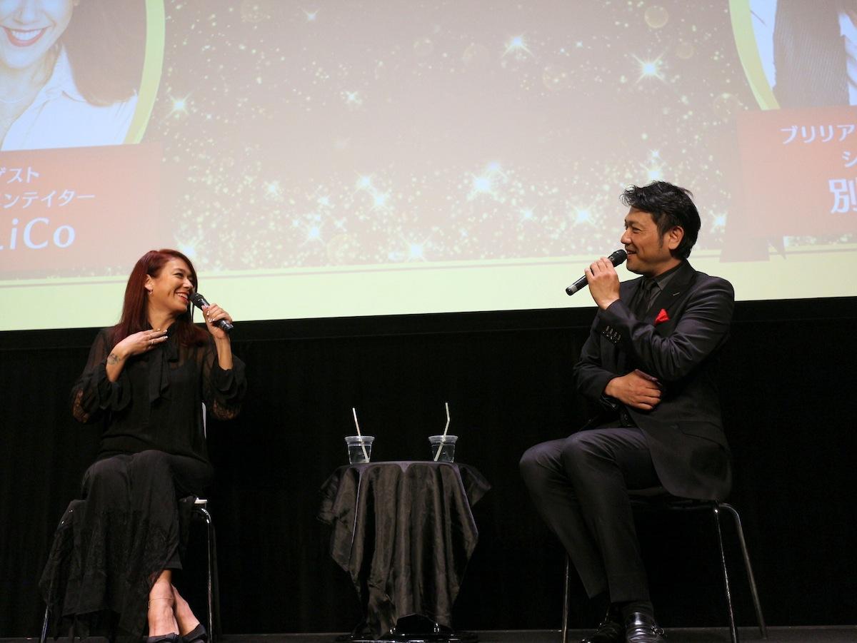 (左から)映画コメンテーターのLiLiCoさん、ブリリア ショートショート シアター代表の別所哲也さん
