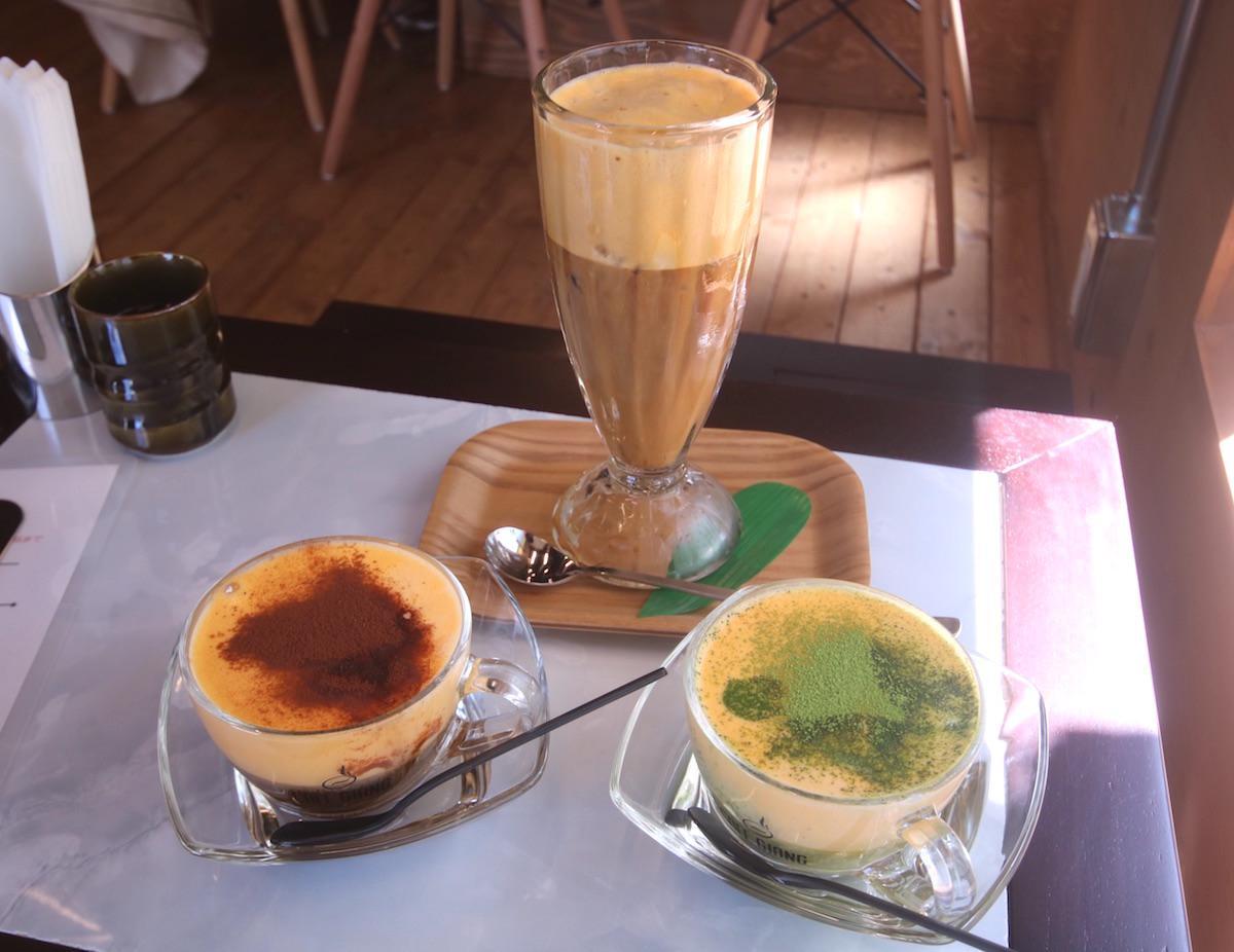 エッグシナモン(480円)、エッグコーヒー(アイス520円)、エッグ抹茶(480円)