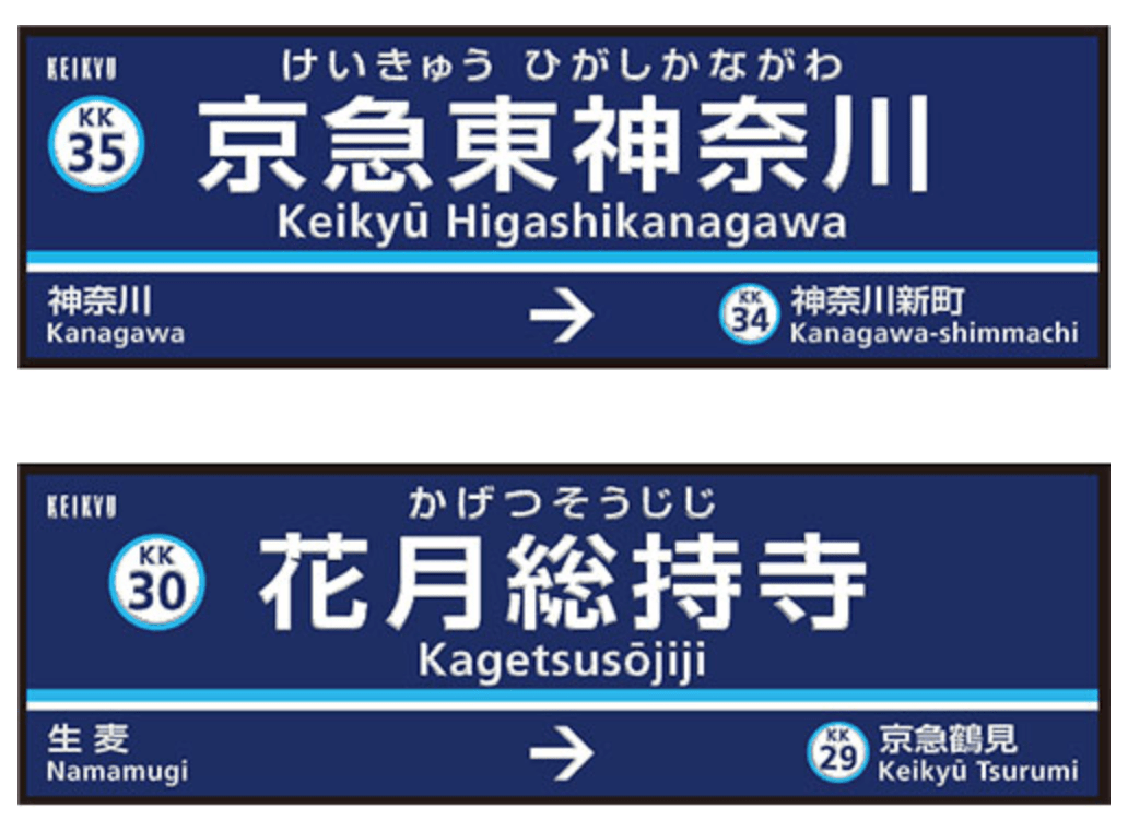 「京急東神奈川駅」と「花月総持寺駅」の駅名看板イメージ