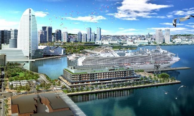 客船ターミナル、商業、ホテルの一体型複合施設「YOKOHAMA HAMMERHEAD」完成イメージ