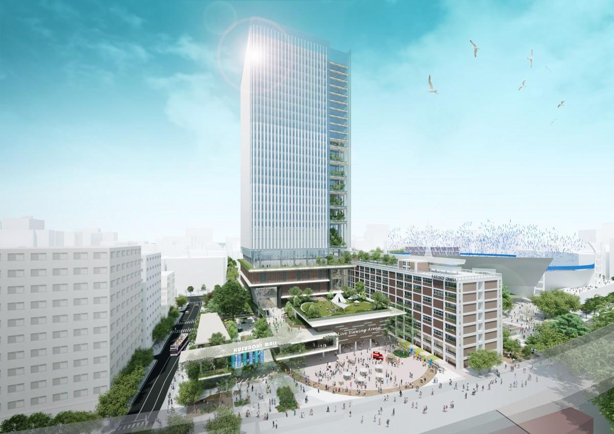 横浜市現市庁舎街区、関内駅側から見た想定イメージ(提供= KANNAI 8)