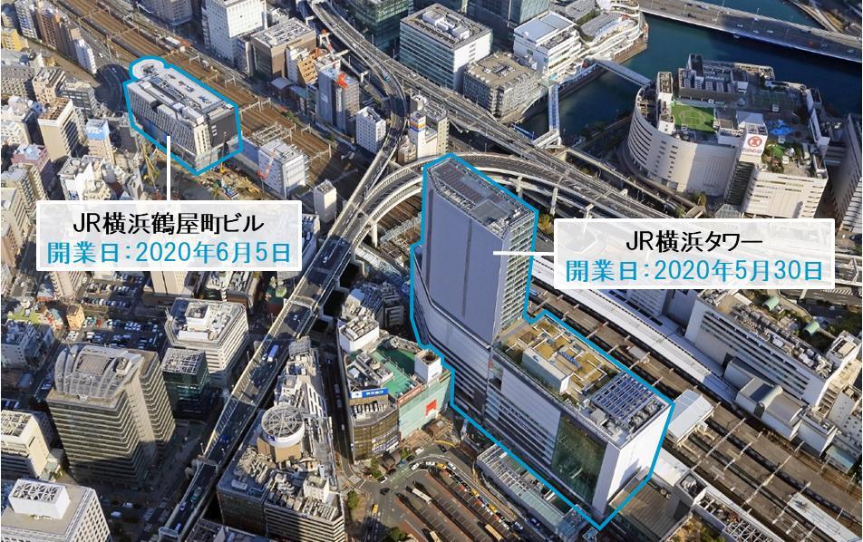 JR横浜タワーとJR横浜鶴屋町ビル断面図