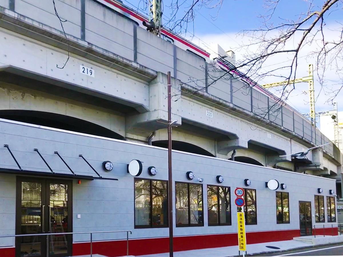 高架下のフードコート外観は、上を走る京急電鉄の車両と対をなすようなカラーリング
