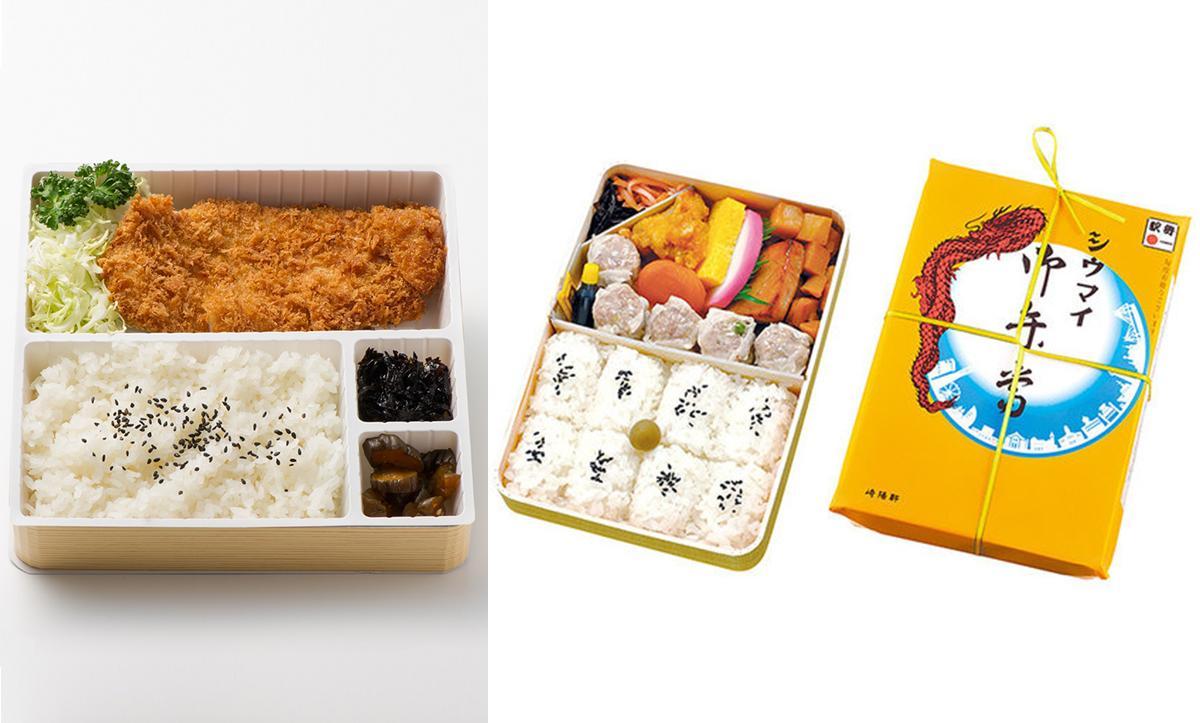 「勝列庵」のかつ弁当(左)と「崎陽軒」のシウマイ弁当