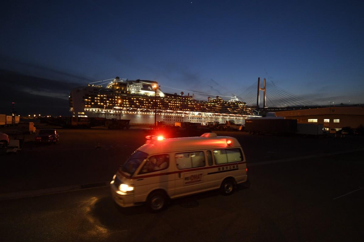 クルーズ船で新型コロナウイルス集団感染(横浜市鶴見区の大黒ふ頭 2月7日、東京写真記者協会提供)