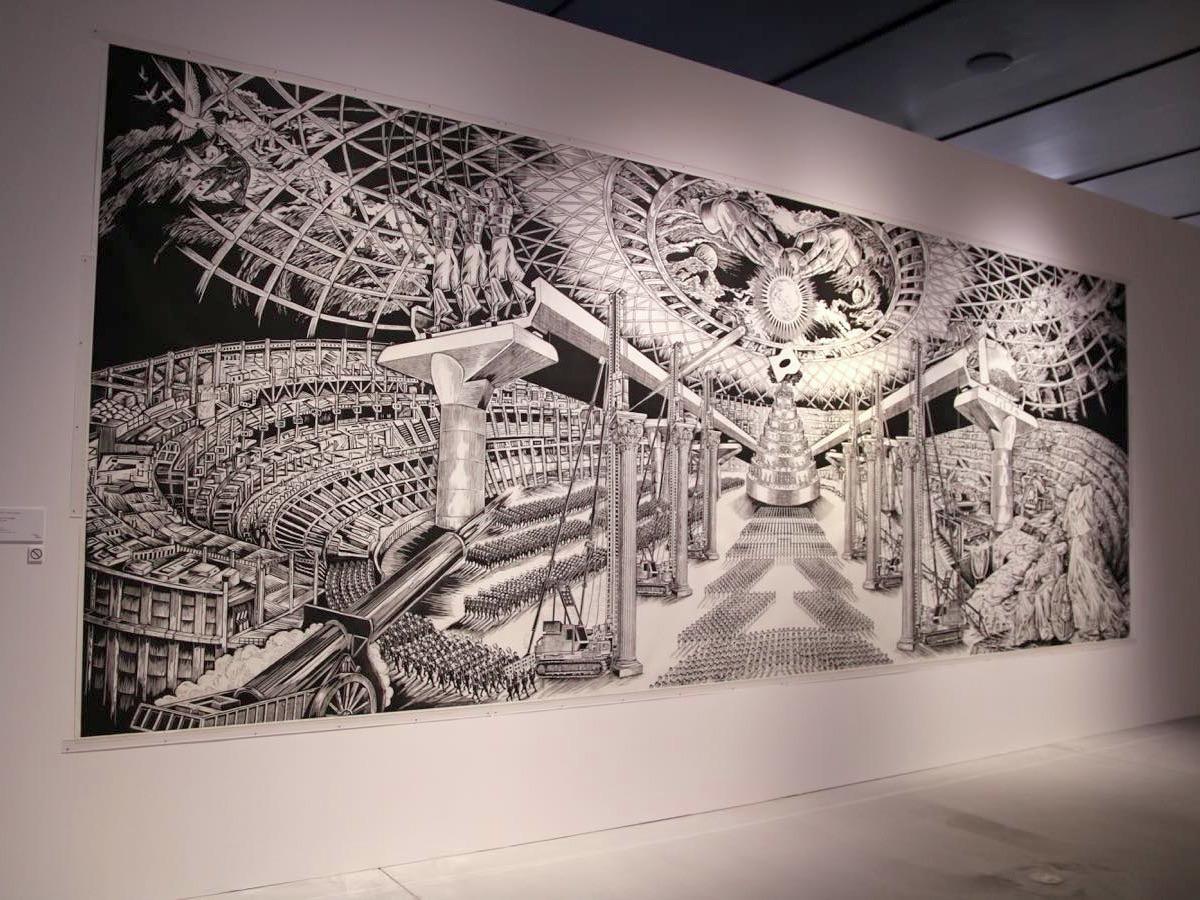 優生思想で統制された近未来の架空の都市でのオリンピック開幕式を描いたという風間サチコさんの作品《ディスリンピック 2680》(2018年)
