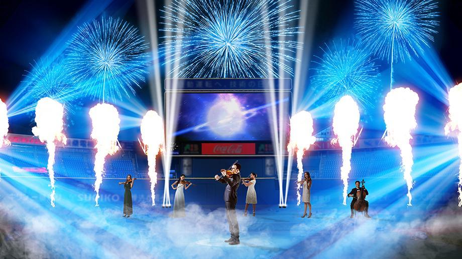 「一人ひとりが星のように輝いてチームも、街も元気になる」がコンセプトの「YOKOHAMA STAR☆NIGHT」。試合後のショーでは神奈川フィルハーモニーの生演奏で激しい戦いを表現。