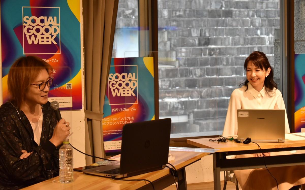 トークセッションゲストの渡辺真理さんと若新雄純さん