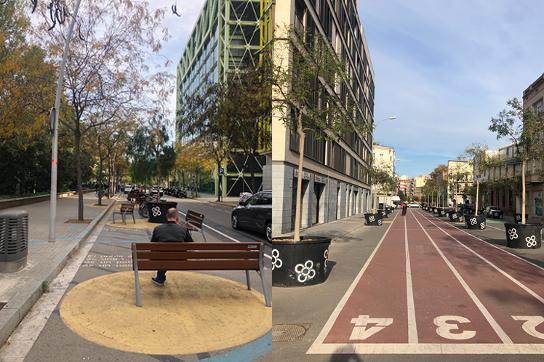かつて自動車が行き交っていた道路に、公園やベンチ、トラックなどをつくり、人々の生活空間・公共スペースとしたスペイン・バルセロナの取り組み(画像提供:ISIDオープンイノベーションラボ)