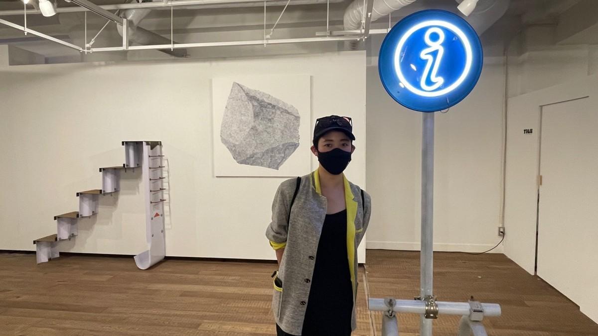 架空の「都市計画」を展示する金子未弥さん