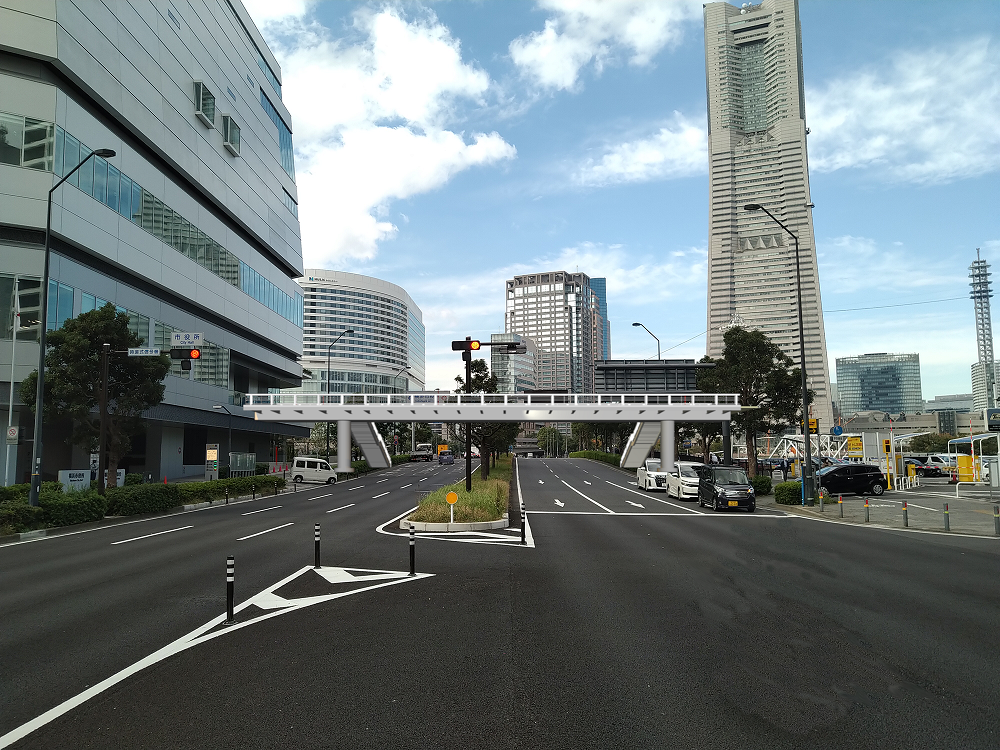 北仲交差点の新しい歩行者デッキイメージ図