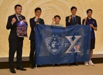 横浜ビー・コルセアーズ、林市長を表敬訪問 シーズン終了を報告