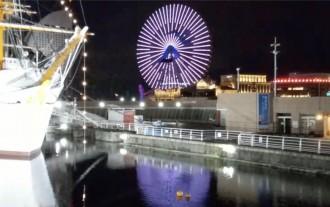 コスモクロック21で「東京2020動くスポーツピクトグラム」ライトアップ