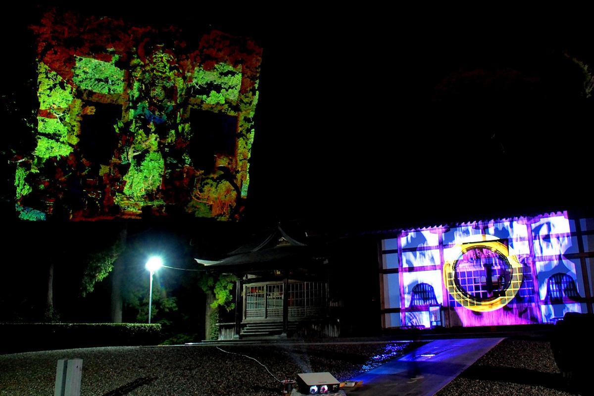 山林や建物に投影するプロジェクションマッピング