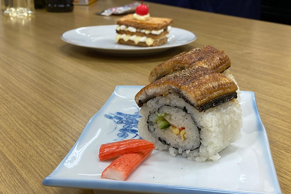 完成した「うなぎミルフィーユ&うなぎチラシ寿司」