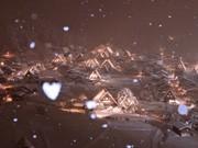 白川郷に「ハート型の雪」-合掌造りライトアップ初日、地元民が偶然撮影