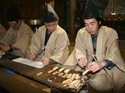 高山の神社で伝統占い「管粥神事」 もち米豊作、獣害注意、プロ野球は混戦模様