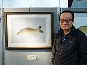 大阪府立中央図書館で「アート魚拓」展示 海外も注目、日本独自の文化