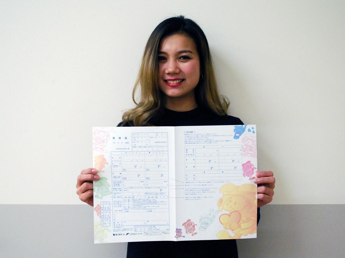 デザインした大阪樟蔭女子大学 化粧学専攻 化粧文化コース3年の門脇まりんさん