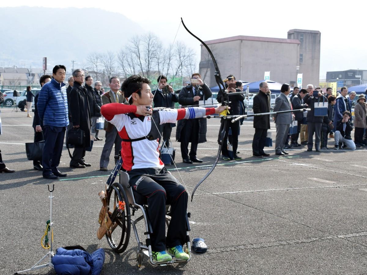 2月に開催されたウィルチェアイベントに登場した上山友裕選手