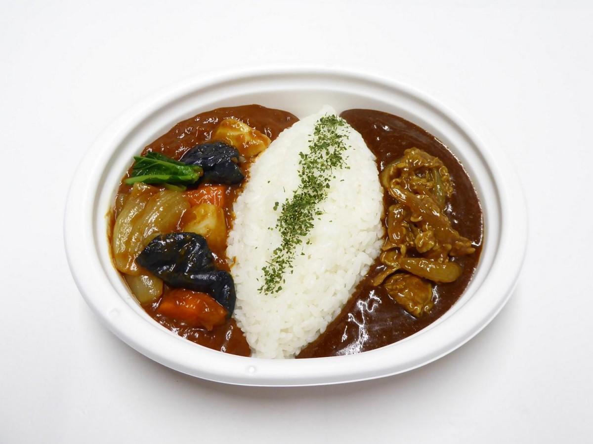 東大阪市内のセブン‐イレブンで販売する「1/2日分の野菜!東大阪あいがけカレー」
