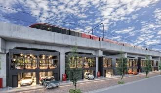 近鉄奈良線高架下に賃貸ガレージハウス 河内花園駅東側に12戸