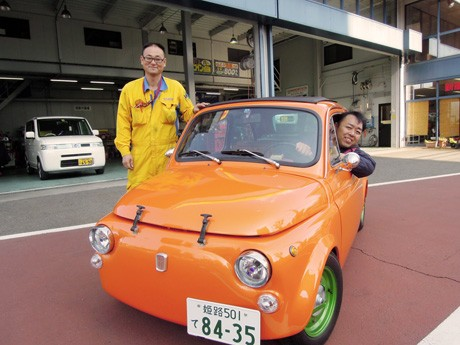 「ルパンの愛車」・フィアット500が電気自動車に。コンバージョンEVで管内初のナンバープレート取得に成功した「ナカムラ」(姫路市国府寺町)が運営する「ホリデー車検姫路今宿店」(同東今宿2)で