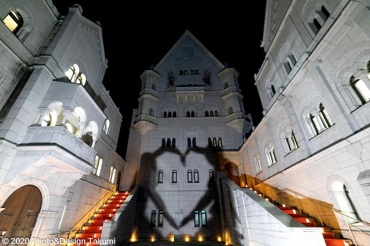 ライトアップ中の白鳥城