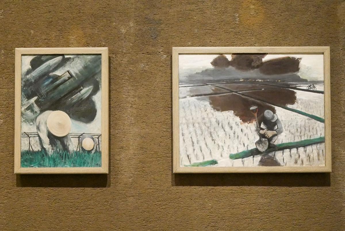 常田健「ジェット機の下」(左)、「寒い夏」(右)