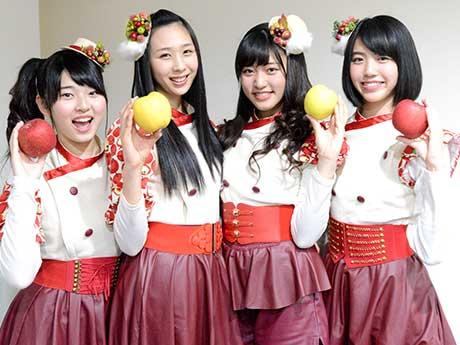 (写真左から)「りんご娘」のジョナゴールドさん、ときさん、王林さん、彩香さん