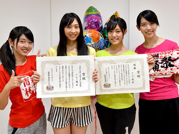 「愛踊祭~あいどるまつり~2016」に優勝したりんご娘。(右から)彩香さん、王林さん、ときさん、ジョナゴールドさん