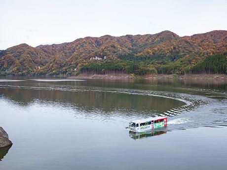 ダム湖「津軽白神湖」を遊覧する水陸両用バス