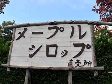 「メープルシロップ直売所」と書かれた手作りの看板