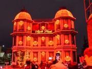 弘前で洋館イルミネーション リンゴをモチーフにしたハートで装飾