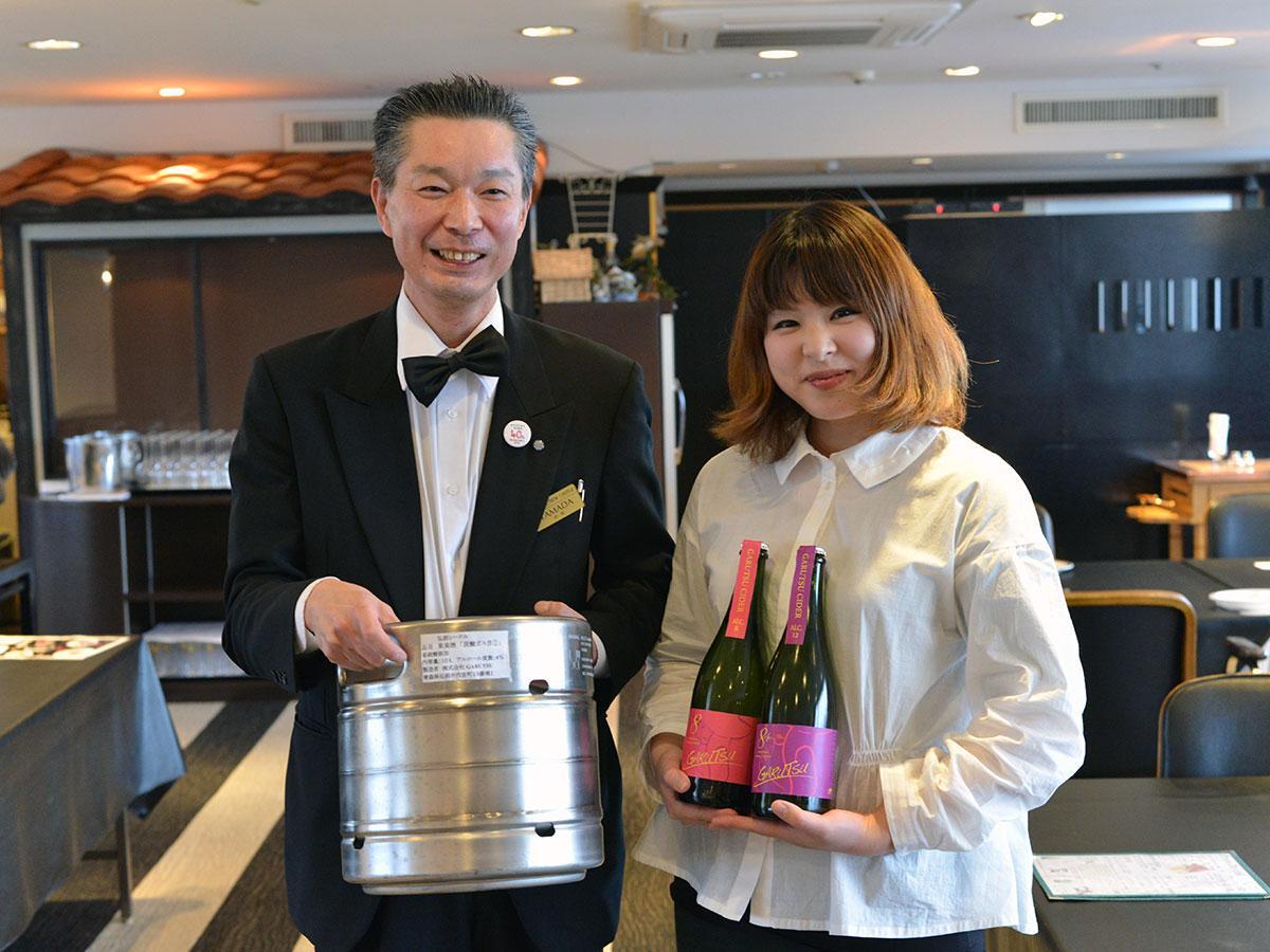 ホテルニューキャッスルの山田一人さん(左)とガルツの櫻庭真衣さん(右)