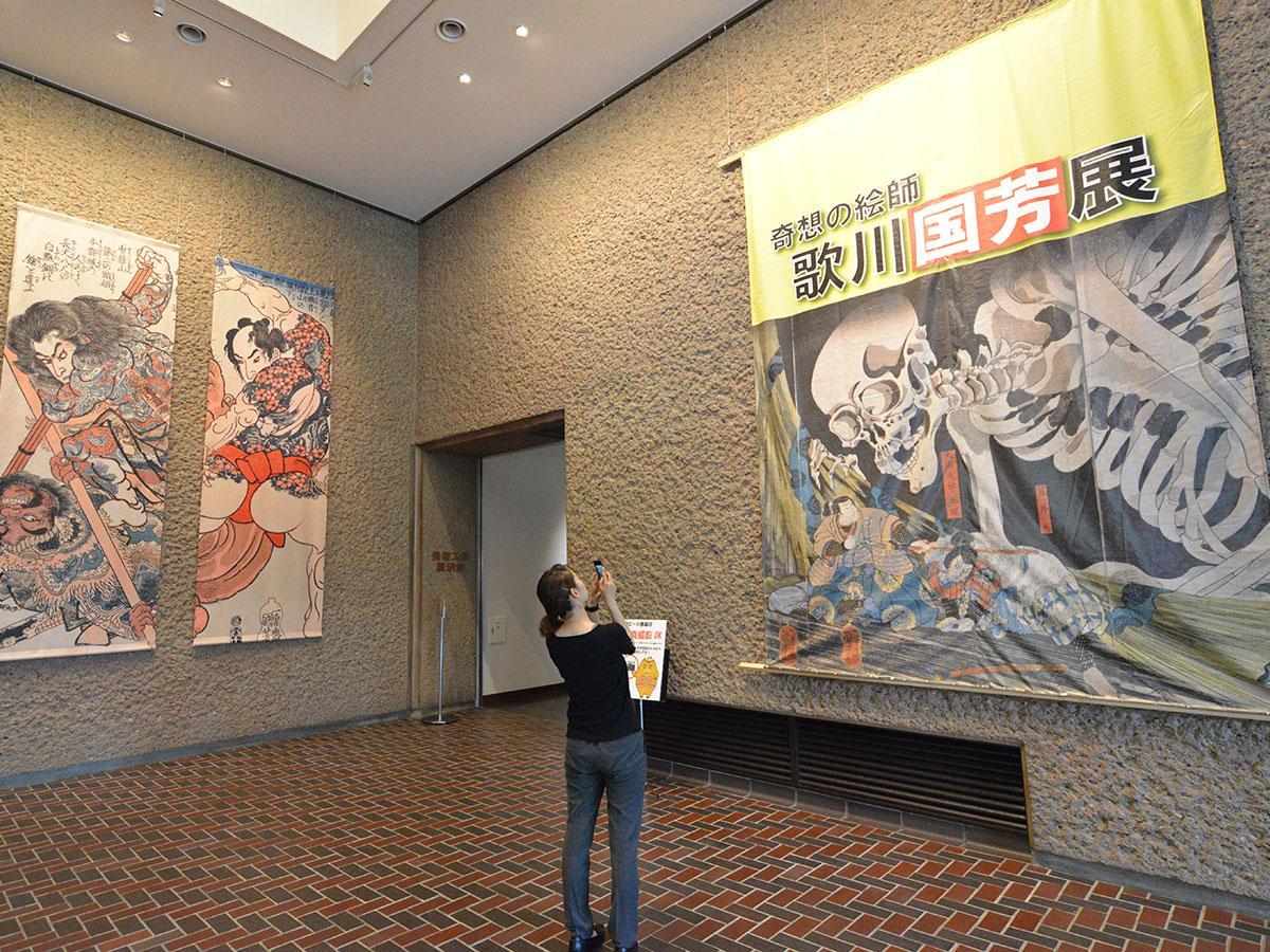 弘前博物館で開催中の「歌川国芳展」。入り口の作品は撮影可能