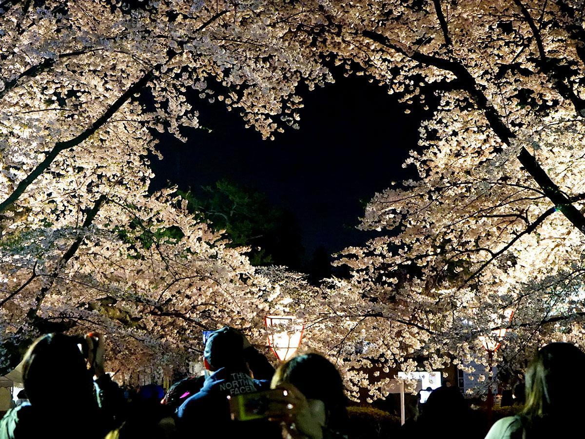 弘前公園内にあるハートのスポット