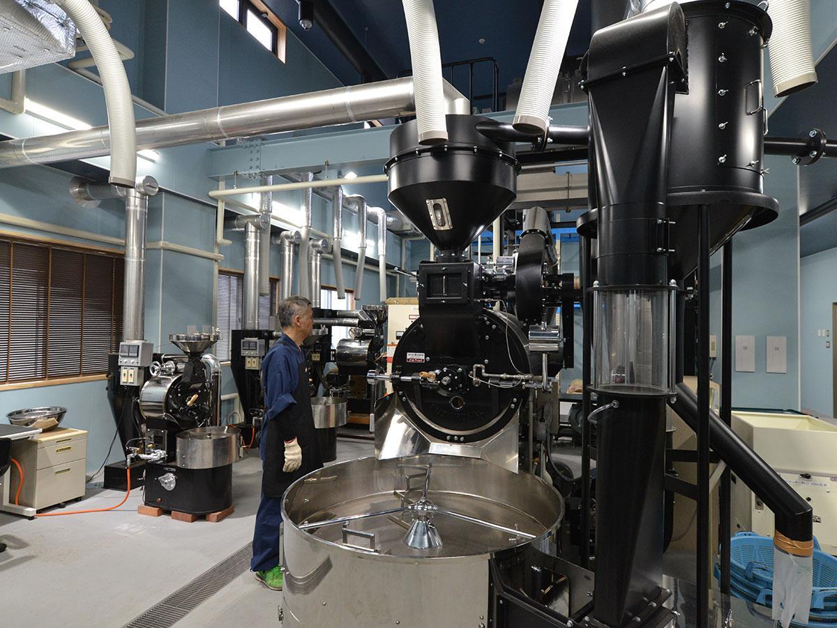 大型ロースターを設置した焙煎工場