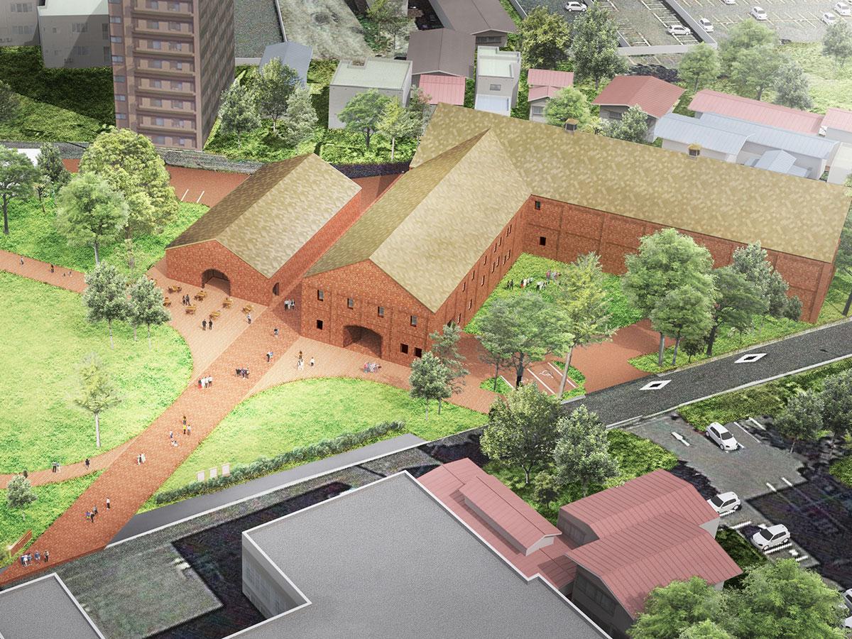 上空から見た「弘前れんが倉庫美術館」イメージ©Atelier Tsuyoshi Tane Architects