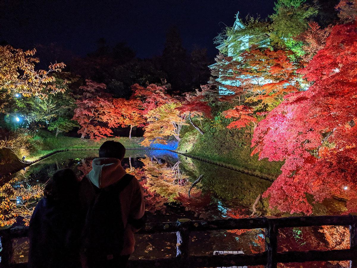 中堀と丑寅櫓のライトアップ。人気スポットの一つ
