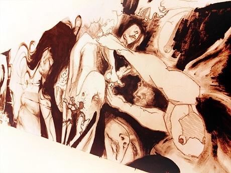11人のアーティストによるグループ展「オトシモノ」。写真=田平恭生さんの作品「ぴちょんぴちょん」