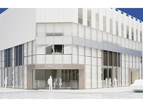 写真=10月に開業する「福屋南館」外観パース。中央通りに面した1階にはセレクトショップ「オペーク」が入る。