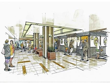 リニューアルする広島バスセンターのグルメタウンのパース