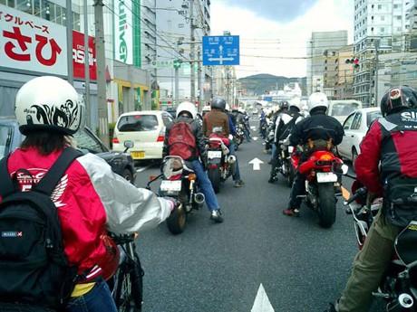 ホンダドリーム広島店で開催したツーリングの様子。同店では、毎月イベントを開催している。