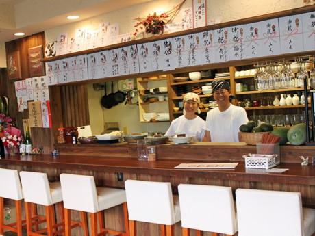 地酒と自家栽培野菜を使った居酒屋「自彩菜酒処 渓」を運営する加島さん夫妻